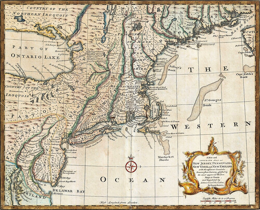New England Ancient Map (1747) by VintageLevel