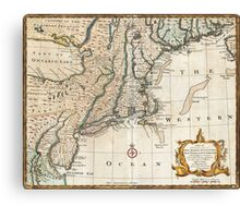 New England Ancient Map (1747) Canvas Print