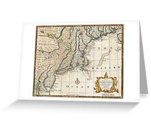 New England Ancient Map (1747) Greeting Card