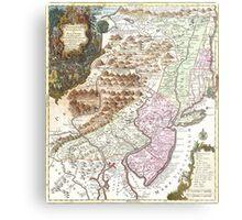 New England Ancient Map (1756) Metal Print