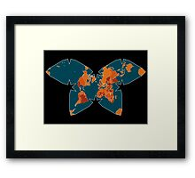 Orange/Red World Map on Blue/Black Backround in Waterman Projection Framed Print