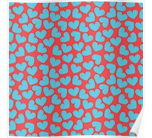 Cute hearts seamless red pattern Poster