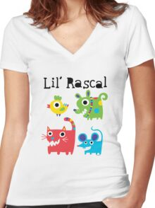 Lil' Rascal Critters Women's Fitted V-Neck T-Shirt