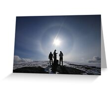 Hikers in sun halo Greeting Card