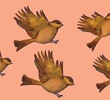 Cute Vintage bird print - flying gold sparrows by bardenne