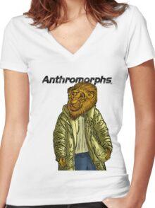 Anthromorphs Lion Women's Fitted V-Neck T-Shirt
