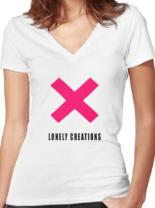 Pink Lonely Creations X Women's Fitted V-Neck T-Shirt