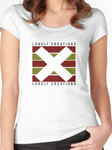 Lonely Creations Red And Yellow Zebra Stripe Women's Fitted Scoop T-Shirt