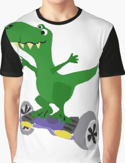 Funny Cool T-Rex Dinosaur on Motorized Skateboard Graphic T-Shirt