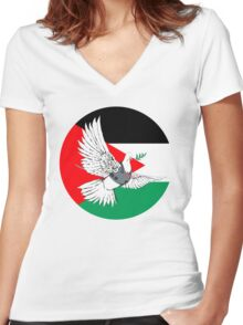 PALESTINE Women's Fitted V-Neck T-Shirt