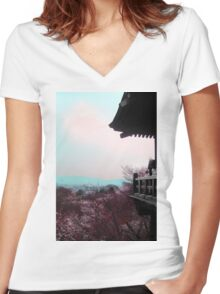 A Glimpse Beyond (Kyoto, Japan) Women's Fitted V-Neck T-Shirt