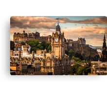 The Balmoral clock tower with the castle behind Canvas Print