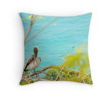 Young Brown Pelican Throw Pillow