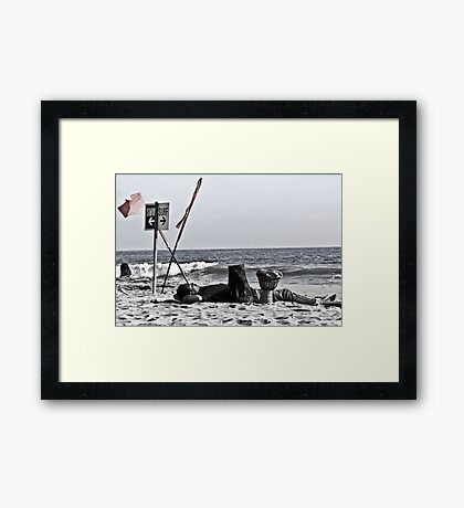 Drummer Man snoozes and It's quiet now Framed Print