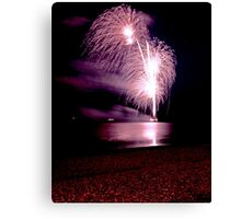 Fireworks over the sea Canvas Print