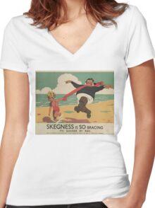 Vintage poster - Skegness Women's Fitted V-Neck T-Shirt