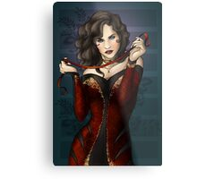 Gothic Girl With Red Ribbon Metal Print