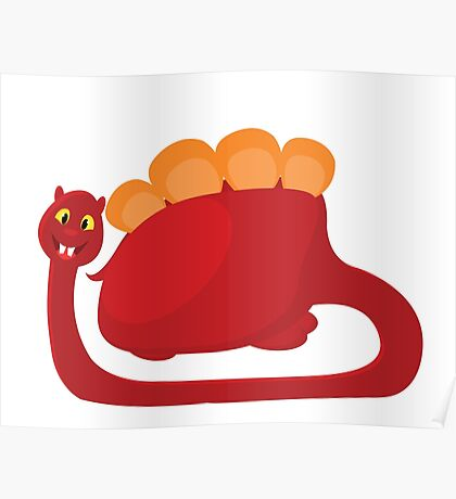 big red with orange dino on white background Poster