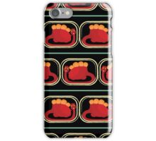 seamless pattern with many  red dinosaur on black background iPhone Case/Skin