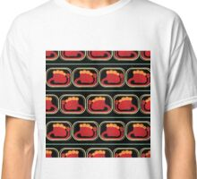 seamless pattern with many  red dinosaur on black background Classic T-Shirt
