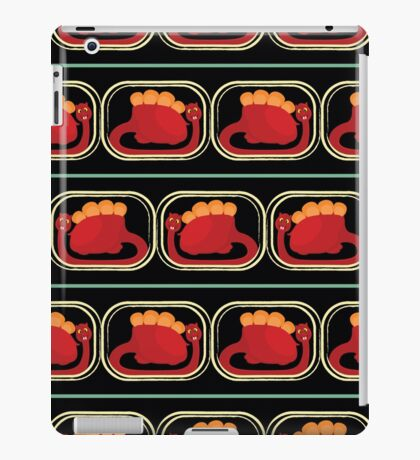 seamless pattern with many  red dinosaur on black background iPad Case/Skin