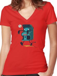 Zombie Arcade Women's Fitted V-Neck T-Shirt