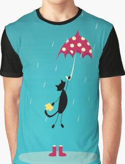 cat fly with red umbrella on rain Graphic T-Shirt
