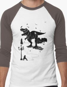 Playtime Dinosaur- Black Men's Baseball ¾ T-Shirt