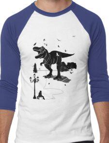 Playtime Dinosaur- Black Men's Baseball ¾ T-Shirt