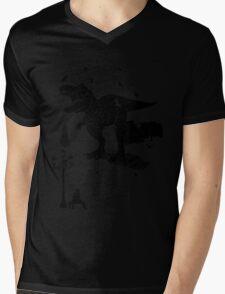 Playtime Dinosaur- Black Mens V-Neck T-Shirt