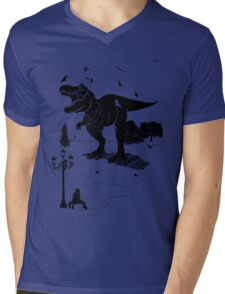 Playtime Dinosaur- Black Mens V-Neck T-Shirt