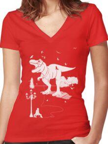 Playtime Dinosaur - White Women's Fitted V-Neck T-Shirt