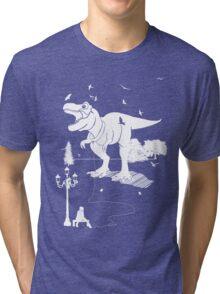 Playtime Dinosaur - White Tri-blend T-Shirt