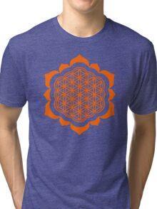 Flower of life - Lotus Flower, sacred geometry, Metatrons cube Tri-blend T-Shirt