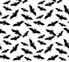 seamless pattern with black bats on white background by Irinavk