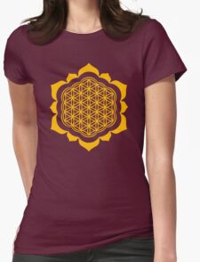 Flower of life - Lotus Flower, sacred geometry, Metatrons cube Womens Fitted T-Shirt