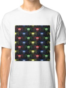 seamless pattern   with  red, blue, yellow, blue small spider Classic T-Shirt