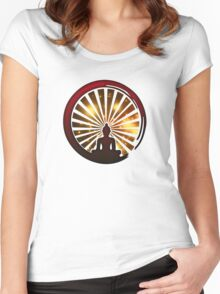 Enso Zen Circle, Meditation, Buddha, Buddhism, Japan, Sun Women's Fitted Scoop T-Shirt
