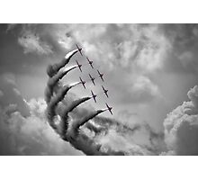 The Red Arrows - Moody Sky - Dunsfold 2013 Photographic Print