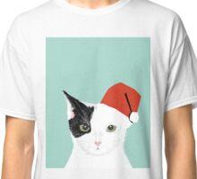 Tuxedo Cat Christmas Hat cute funny holiday cat lady gift idea Classic T-Shirt