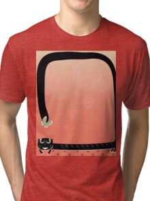black cat play with butterfly on red background Tri-blend T-Shirt