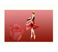 Ballerina On Pointe with Red Rose  Art Print