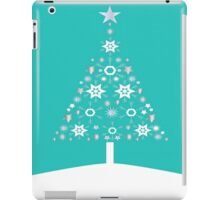 Christmas Tree Made Of Snowflakes On Jade Background iPad Case/Skin