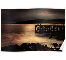 Night Falling on Portencross Pier Poster