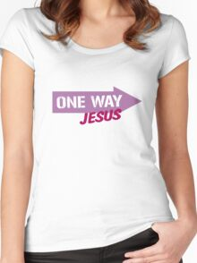 One Way Jesus  Women's Fitted Scoop T-Shirt