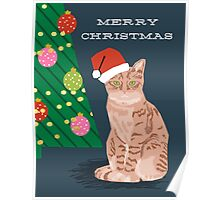 Merry Christmas Tabby Orange cat cute gift for cat person cat christmas Poster