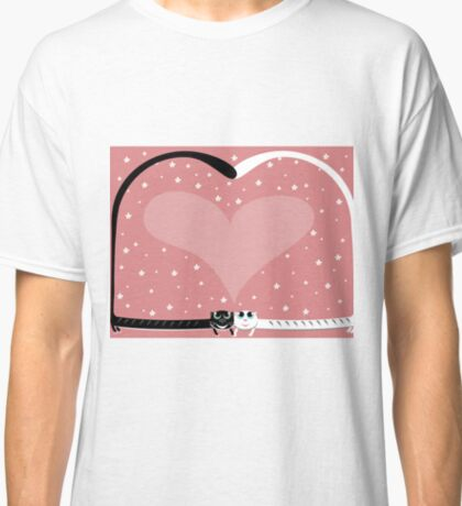 two love cat on wedding with heart and many flowers Classic T-Shirt