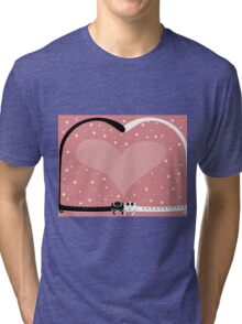 two love cat on wedding with heart and many flowers Tri-blend T-Shirt