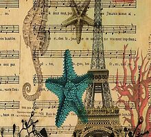 ocean seashells vintage eiffel tower postage fashion by lfang77
