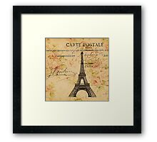 vintage floral paris eiffel tower fashion Framed Print